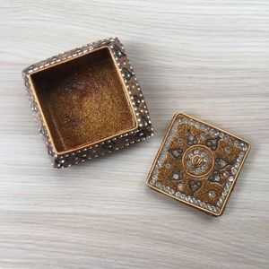 Small Gold Glitter and Rhinestone Box with Lid